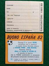 CALCIATORI 1981-82 BUONO ALBUM ESPANA 82 Figurina Panini NEW