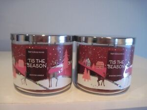 BATH AND BODY WORKS TIS THE SEASON 3 WICK CANDLE X2