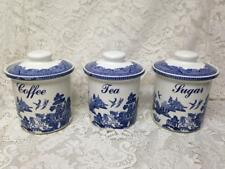 Vintage, Rare, 3-pc  Blue Willow Canister Set 7in T x 6in D Each