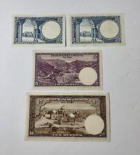 Vintage Pakisatani Rupee Bank Notes Pakistan Denominations of 1(x2), 5 & 10