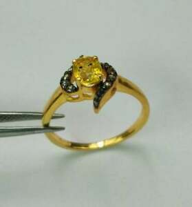 Natural Citrine Gemstone Ring,Pave Diamond ring,925 Sterling Silver ring,Gift