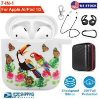 For Apple AirPods 1 2 Silicone Case Cover Keychain Ultra Slim Watch Band Holder