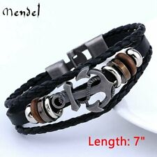 Mendel Mens Sailor Beach Nautical Anchor Bracelet Leather Wristband Men Black