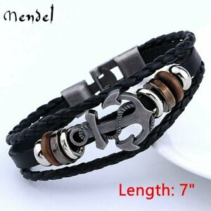 MENDEL Mens Sailor Beach Nautical Anchor Bracelet Leather Wristband Men Black