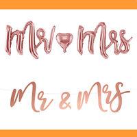 Schriftzug Mr & Mrs Folienballon Girlande Hochzeit Party JGA Deko Banner Love