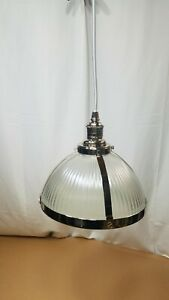 """NEW Pottery Barn Industrial Ribbed Glass Cord Pendant Large 12"""" Nickel finish"""