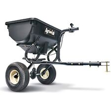 Tow Behind Broadcast Spreader Hopper Garden Yard Lawn Seed Fertilizer Black