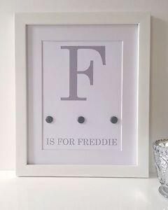 Personalised Baby Nursery Name Print Child Birth Gift Picture Newborn Gift Grey