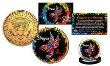Chinese Zodiac PolyChrome Genuine JFK Half Dollar 24K Gold Plated Coin - DRAGON