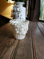 Irish Belleek Porcelain Raised ROSE Basket Weave Spill Vase Green Mark