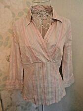 Women's pink aqua white striped top 3/4 sleeves Next size 12