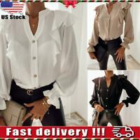 US Womens Long Sleeve V Neck Ruffle Frill Shirt Ladies Casual Office Blouse Tops