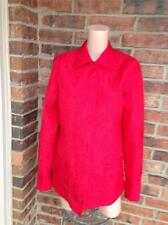 COLDWATER CREEK 100% Silk Jacket Size S Quilted Pockets Long Sleeve Red