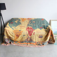 Couch Throw Tassels Blanket Wall Tapestry 3 Layers Cotton Woven Sofa Blanket