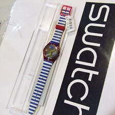 "Vintage SWATCH Watch ""Fritto Misto"" 1993 GR114 NOS NEW Blue White Stripes"