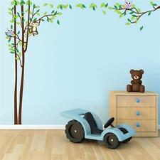 Owl Animal Wall Stickers Monkey Zoo Jungle Tree Nursery Baby Room Mural Ornament
