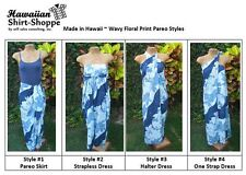 NEW Ladies Blue Wavy Floral Wrap Sarong in Soft Rayon - Beach, Vacation or Pool