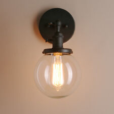 "PERMO 5.9"" VINTAGE INDUSTRIAL WALL LAMP SCONCE GLOBE GLASS SHADE LOFT WALL LIGHT"
