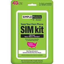 Simple Mobile Bring Your Own Phone SIM Activation Kit Triple Punch No Contracts