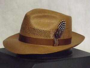 STETSON BACK BAY SHANTUNG STRAW VENTED FEDORA HAT