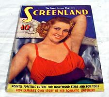 Screenland magazine June 1939 Joan Blondell cover  Hedy Lamarr  Free shipping 31