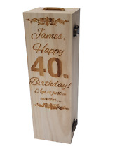 Personalised Wooden Wine Gift Box Birthday Champagne Prosecco Bottle Engraved