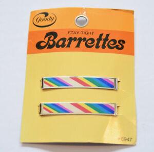 "Goody Vintage 2"" Stay Tight Clasp Barrettes Rainbow USA 1982"