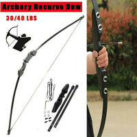 30/40lbs Archery Recurve Bow Takedown Hunting Target Longbow Training PracticeUS