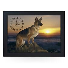 Wooden Picture Frame Clock. German Shepherd Sunset. 43 x 32.5 cm