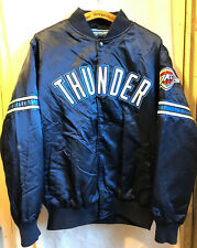 STARTER OKLAHOMA CITY THUNDER NBA BASKETBALL SNAPS SATIN JACKET LARGE HTF EUC