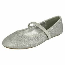 Girls Spot on Flat Party Shoes - H2293 Silver UK 12 Kids