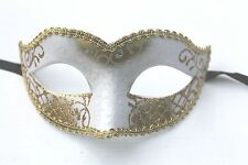 QUALITY LADIES WHITE & GOLD VENETIAN MASQUERADE PARTY CARNIVAL BALL EYE MASK NEW