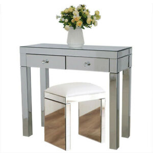 Mirror Glass Dressing Table Stool Set 2 Drawer Console Desk Bedroom Makeup Table