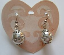 Brighton GLIMMER TWIST Earrings -silver color- crystals- interchangeable beads