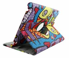 Apple iPad 2/3/4 Graffiti Pattern 360 Rotating Vegan PU Leather Folio Case Cover