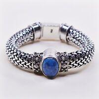 """6.25"""", Vtg Handmade Bali Sterling Silver bracelet, 925 Mesh Chain W/ Sodalite"""