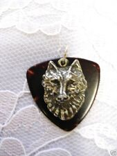 TORTOISE SHELL BROWN FENDER BASS GUITAR PICK & WOLF HEAD PEWTER PENDANT NECKLACE