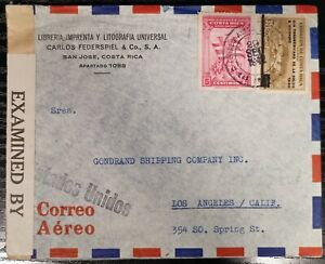 Costa Rica Cover from San Jose To USA Health Overprint Victory Stamps 1942