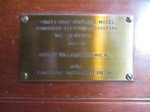 "Antique Cambridge Instrument Co. Electrocardiograph ""Simpli-Trol"". Custom made."