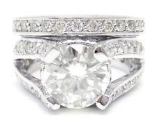 Ring & Band Wedding Set R77 8Mm Moissanite & Diamonds Split Shank Engagement