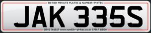 JAK 335S, JAKES, JAKE, JACKIE, JAKEES Cherished Reg, Private Number Plate