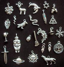 25 Wiccan Pagan charmes mix couleur argentée en métal