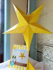 FIVE YELLOW 45 CM HANRING STAR DECORATION GREAT FOR ANY PARTY OCCASIONS.