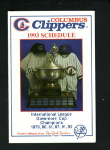 Columbus Clippers--1993 Pocket Schedule--WBNS/Kellogg's--Yankees Affiliate