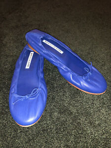 MANOLO BLAHNIK Blue Leather Tobaly Ballet Flats Size 6.5/36.5