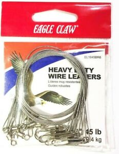 "Eagle Claw Heavy Duty Wire Leaders Sz 18"", 6 Count, 45 lb"