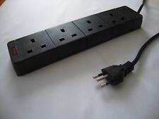 Brazilian plug to 4 way UK adaptor extension lead / cord (Brazil)