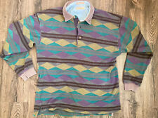 Vintage Guess Classics Georges Marciano Patterned Polo Longsleeve Shirt L Rugby