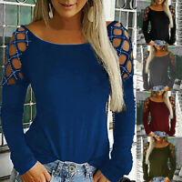 Fashion Women Loose Studded Long Sleeve Hollow-Out Tops T Shirt Blouses Casual