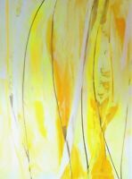 """SOFA-SIZED PAINTING Signed yellow """"Sunny Honey"""" 40x30 canvas by Steven Graff USA"""